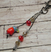Toucan Red Gold Crystal Beaded Handmade Purse Planner Charm Keychain Clip - $13.09