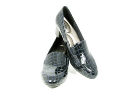 Abella Sarah Women's Black Pumps All Man Made Slip On Heels Croc Pattern... - $19.79
