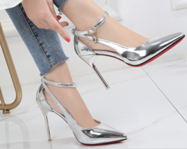 9AB019 Candy color pointy sandals,stiletto, patent leather,size 4-8.5, silver - $88.80