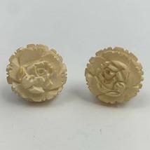 Vintage Carved Celluloid Rose Flower Screw Back Earrings Cream Color - $11.84