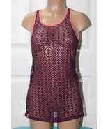 NEW  Miken Wine Coral Lace Crochet Tank Tunic Swimwear Dress M Medium - $12.86