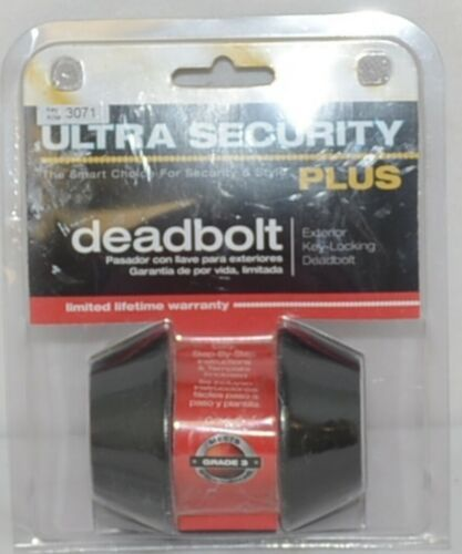 Ultra Security Plus Deadbolt Exterior Key Locking Oil Rubbed Bronze