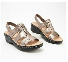 Clarks Collection Lexi Qwin Leather Cut-Out Sandals Pewter Metallic US 8... - $44.54