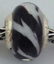 Authentic Lovelinks Pastiche Murano Glass Black & White Bead Charm - $21.84