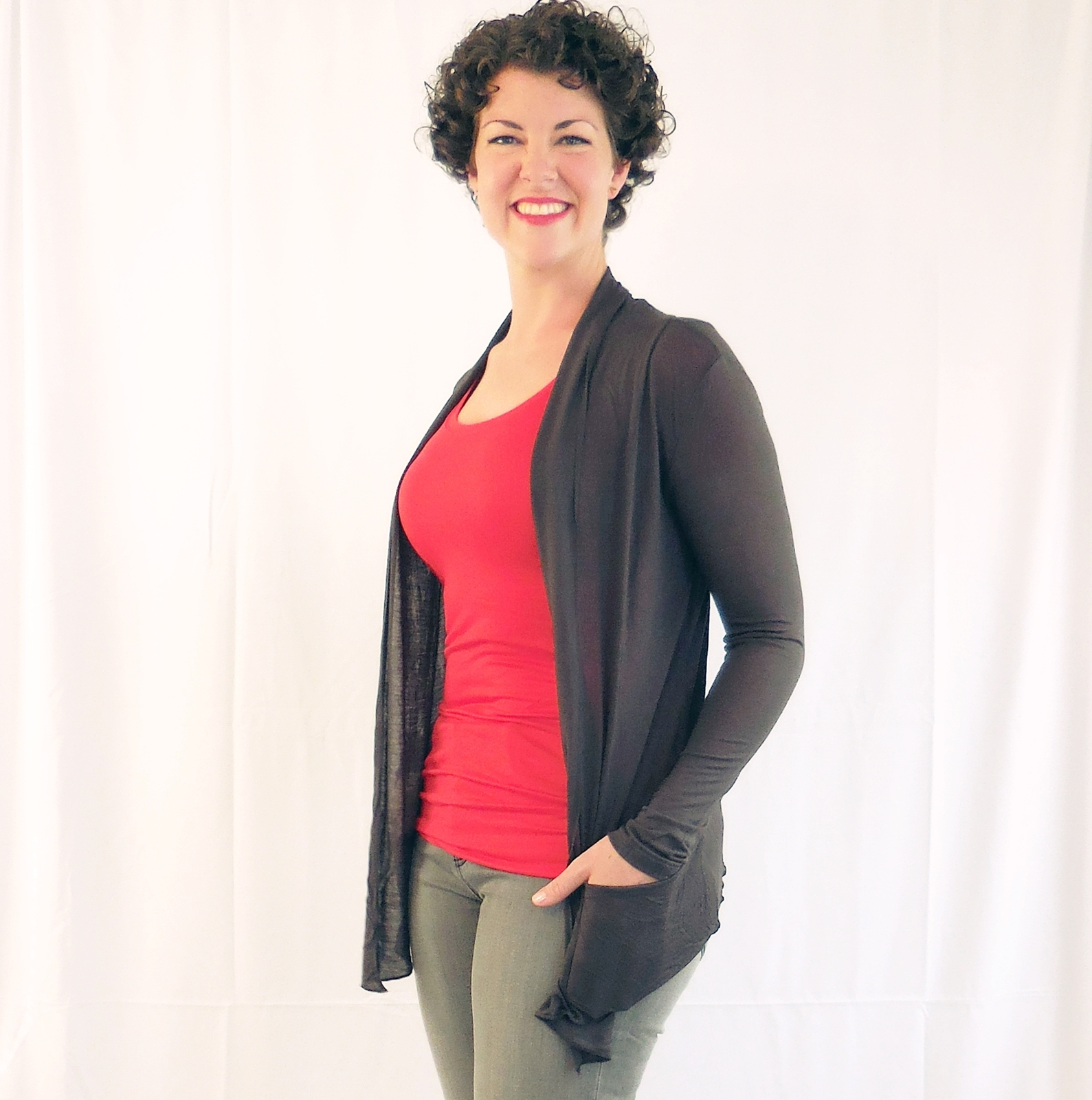 Dark Grey Open Front Flyaway Cardigan, Lightweight Rayon Layering Sweater