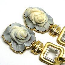 EARRINGS SILVER 925, CAMEO CAMEO SHELL, ROSES, FLOWERS, HANGING image 3