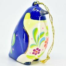 Handcrafted Painted Ceramic Blue & White Penguin Confetti Ornament Made in Peru