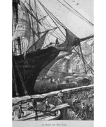 NEW YORK Harbor Merchant Sailship Unloading Cargo - 1883 German Print - $21.60