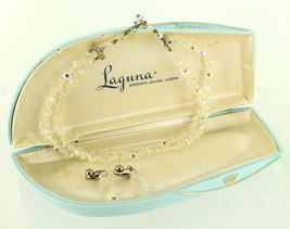 VINTAGE LAGUNA AB CRYSTAL FACETED BEADS NECKLACE & EARRINGS IN COOL BLUE... - $94.49