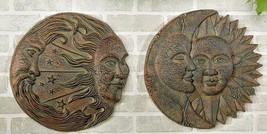 "15"" D Sun & Moon Design Wall Plaques Set of 2 Polyresin NEW"