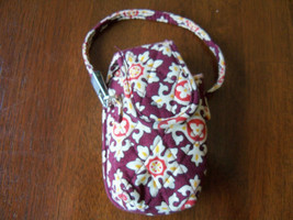 Vera Bradley Cell Phone/MP3/ Ipod Wristlet Burgundy/ Cream Color - $18.63