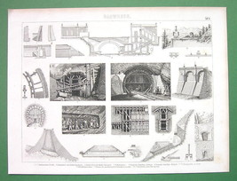RAILROAD TUNNELS Construction - 1870s Antique Print Engraving - $6.74