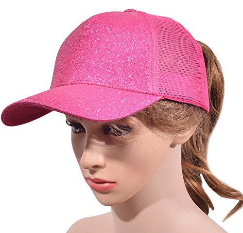 Beurlike Ponytail Baseball Cap High Bun Ponycap Adjustable Mesh Trucker Hats Gli
