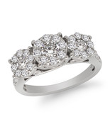 Round 1.50ct Real Diamond 10k White Gold Three Stone With Accent Engagem... - $968.95
