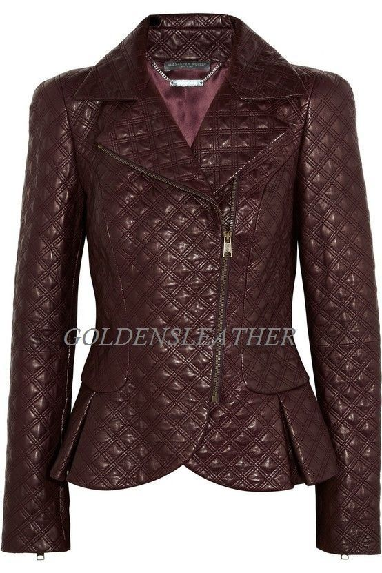WOMEN BIKER MOTORCYCLE CASUAL SLIM FIT RIDER REAL GENUINE  LEATHER JACKET-A31