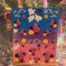 90s Lisa Frank Incomplete Sticker Sheet Rainbow Bees & Roses Exc Vintage Cond image 2