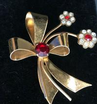 Vintage Coro Brooch Pin Signed Flower Red Rhinestone Jewelry  - $9.67