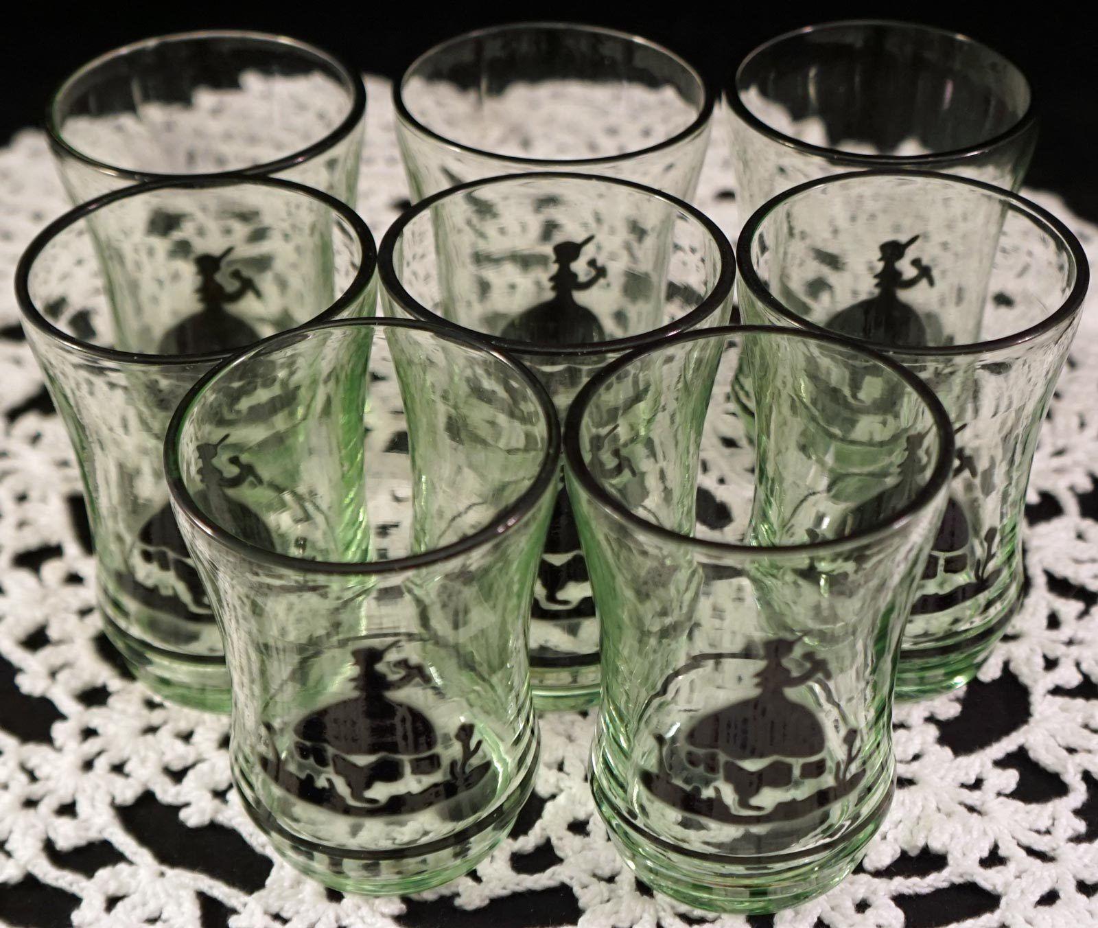 RARE Set of 8 Vaseline Glass Little Bo Peep Silhouette Juice Glasses Blacklight
