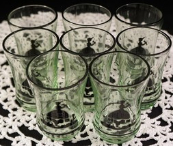 RARE Set of 8 Vaseline Glass Little Bo Peep Silhouette Juice Glasses Bla... - $99.99