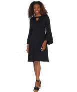 Isaac Mizrahi Live! Small Pebble Knit Keyhole Dress with Ruffle Sleeves ... - $19.99