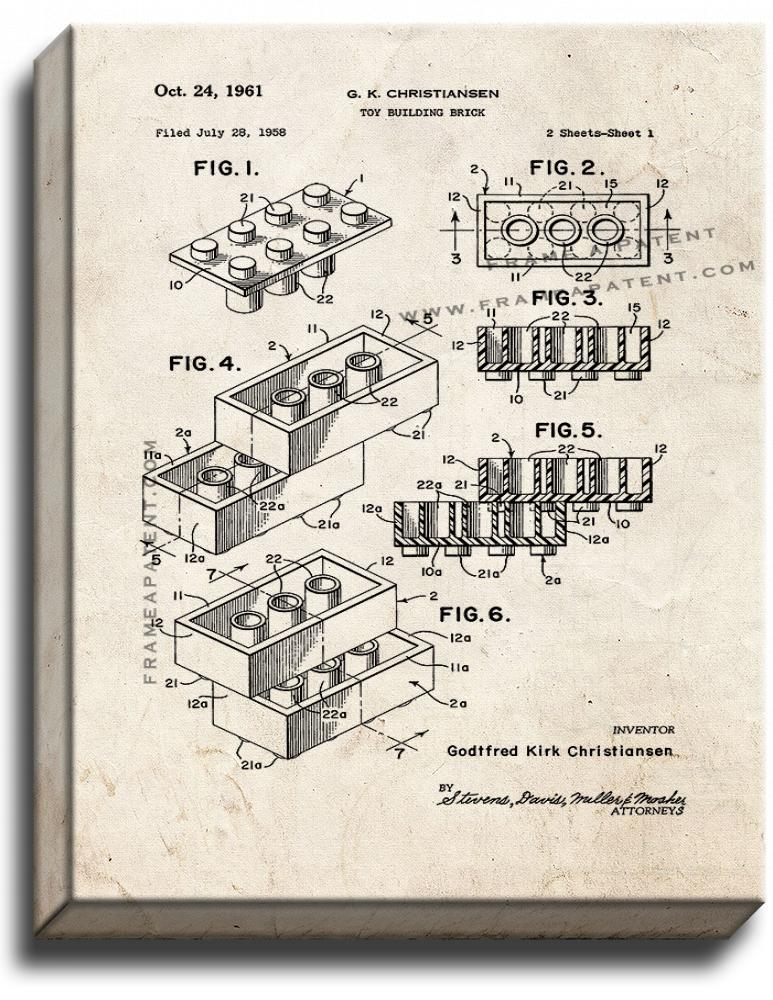 Lego Toy Building Block Patent Print Old Look on Canvas - $39.95 - $159.95
