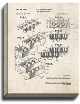 Lego Toy Building Block Patent Print Old Look on Canvas - $39.95+