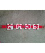 "Vintage Needlepoint ""NOEL""  Christmas Wall Hanging Plastic Canvas Yarn A... - $10.95"