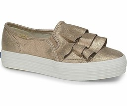 Keds WH59315 Women's Shoes Triple Ruffle Glitter Suede Gold, 7 Med - $49.45