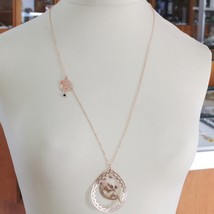 Silver Necklace 925 Laminated in Rose Gold le Favole with Fairies, Drop, Moon image 1