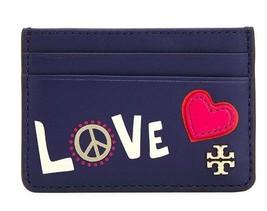 Tory Burch Peace & Love Slim Card Case Holder Leather Navy Sea - $77.42