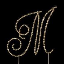 RaeBella Weddings Swarovski Crystal Wedding Cake Topper Gold Letter M SMALL - $42.57