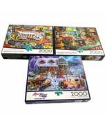 Lote 3 Buffalo Games Ruta 66 Macetas Cobertizo Winterland Fun 2000 Pieza... - $38.53