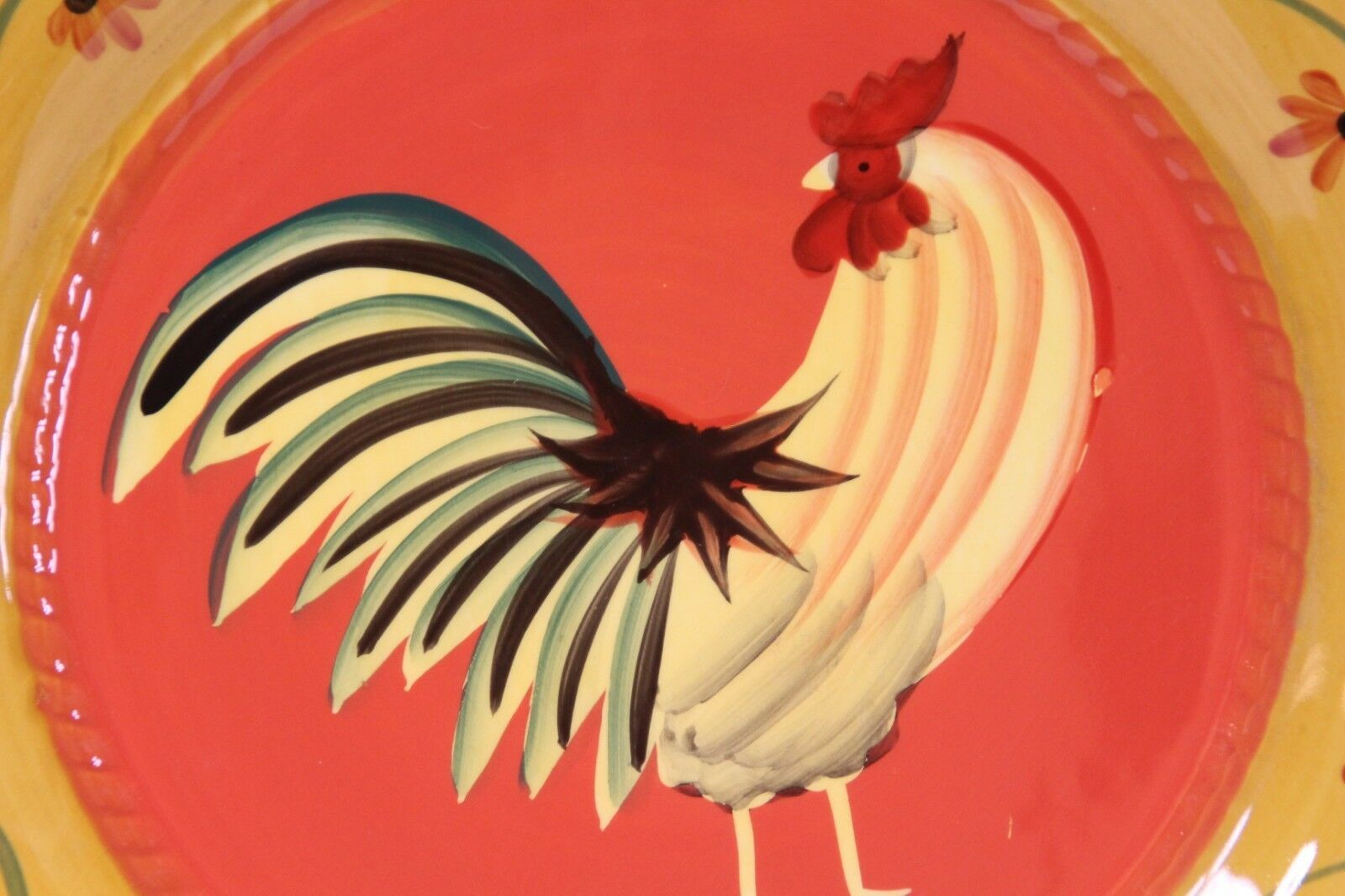 """Ack Casa Vero Rooster Dinner Plates Hand Painted 10"""" Lot of 8"""