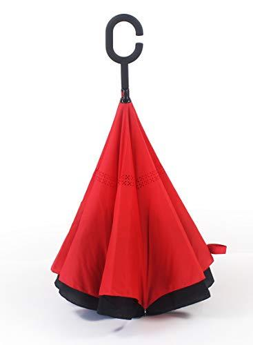 MiYagi Reversible Umbrella with C-Handle, Double Layer Big Straight Umbrella for