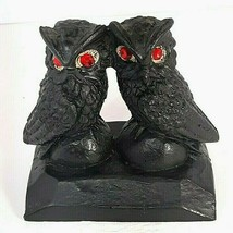 Vintage 2 Owls Figurine w/Red Eyes Manufactured from Coal Owl Pair - $11.95