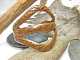 "Vintage Southwest Solid Copper 2"" Wide Cuff Bracelet 6-5/8"" - $14.20"