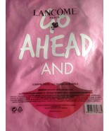 "Lancome Canvas Tote Go Ahead and Smile Pink 15"" Tall 14"" Wide Straps 13""... - $10.84"