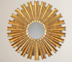 Gold Sunburst Starburst Mirror Mid Century Mod Hollywood Regency Farmhouse - $148.33