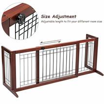 Adjustable Solid Wood Dog Gate Pet Fence Playpen Indoor Construction Sta... - $80.54