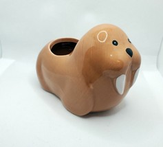Walrus Animal Planter Grow Kit, ceramic pot with soil and mint herb seeds image 5