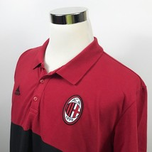 NWT adidas Mens 2XL ACM AC Milan Football Club Black Red Cotton Polo Shirt - $49.95