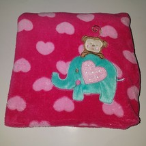 "Baby Starters Pink Hearts Baby Blanket Girl Lovey Monkey Elephant Soft 30"" x 40"" - $34.60"