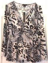 Susan Lawrence Silky Top Long Sleeve Deep V Neck Animal Print Gathered F... - $18.76