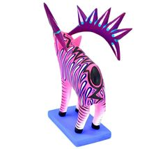 "Handmade Alebrijes Oaxacan Painted Carved Wood Folk Art Hot Pink Elk 7"" Figure image 3"
