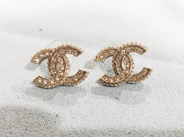 SALE* AUTHENTIC CHANEL XL LARGE CRYSTAL CC LOGO STUD GOLD EARRINGS  image 3