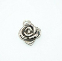 Sterling Silver .925 3D Repousse Rose Flower Necklace Pendant - $24.74