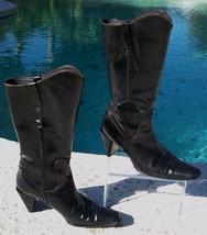 Stuart Weitzman Black Calf Boot Shoe EUC  7.5 Mid Calf Pull on Side Zip Eastern - $89.95
