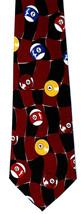 Billiards Mens Necktie Pool Cue Ball Game Balls Checkerboard Sport Neck ... - $15.79