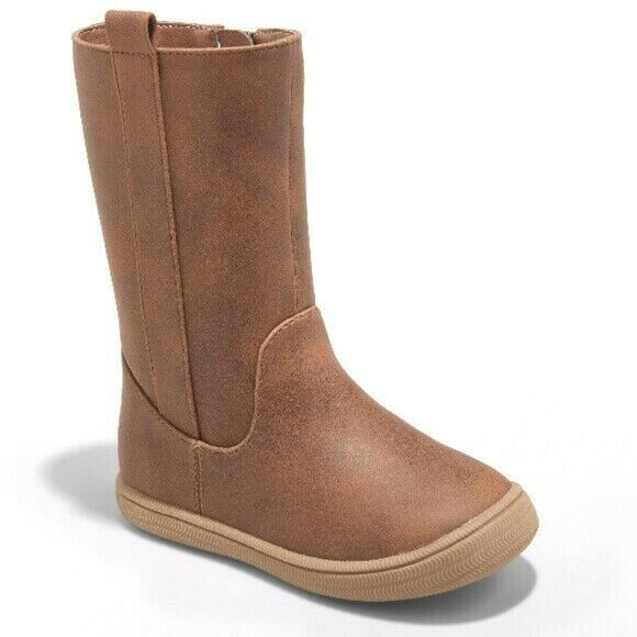 New Toddler Girl's Cat & Jack Brown Orabel Tall Side Zip Fashion Boots NWT