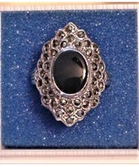 Antique Vintage Signed Sterling Rhinestone Ring Size 7.5 Gorgeous - $95.00